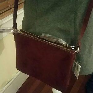 Old Navy Suede dual zip crossbody bag maroon wine